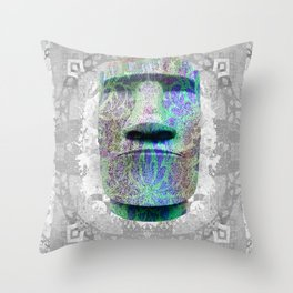 Easter Island Statue Psychedelic Geometric Yoga Mat Print Throw Pillow