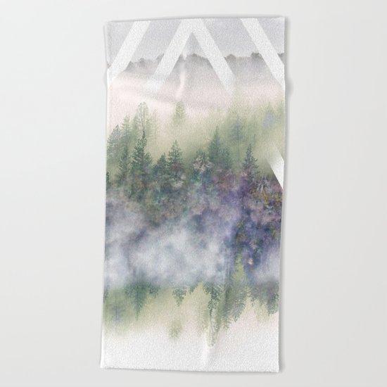 Foggy Mountains Beach Towel