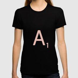 Pink Scrabble Letter A - Scrabble Tile Art T-shirt
