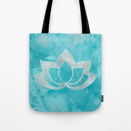 Lotus Flower on Aqua Tote Bag