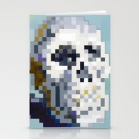 8bit Stationery Cards featuring 8Bit Skull by Delton Demarest