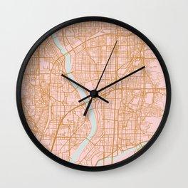 Pink and gold Kyoto map, Japan Wall Clock
