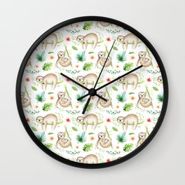 Modern hand painted green brown watercolor tropical floral sloth Wall Clock