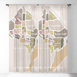 orange washington dc map Sheer Curtain