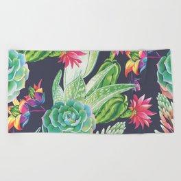Succulents Flowers Plants Beach Towel