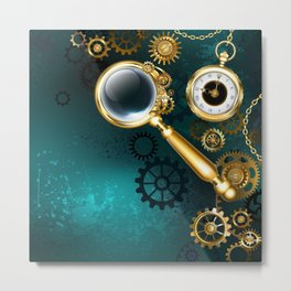 Magnifier in Steampunk Style Metal Print
