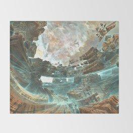 Aqua Space Shipyard Throw Blanket