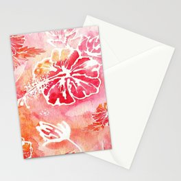Hibiscus   Tropical Watercolor in Coral, Pink, Orange   #hibiscus #tropicalflower Stationery Cards