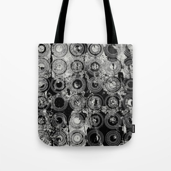 Urban Rings IV - Black and white textured abstract Tote Bag