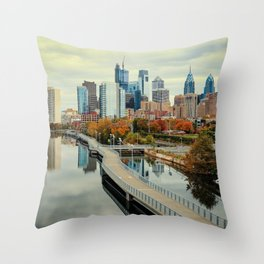 Philadelphia Fall Skyline Throw Pillow