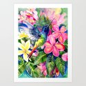 Hummingbird and Plumeria Florwers Tropical bright colored foliage floral Hawaiian Flowers by sureart