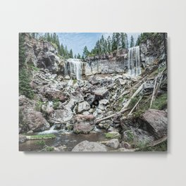 Rock Land Waterfall // Natural Beauty Wilderness Photography Decoration Metal Print