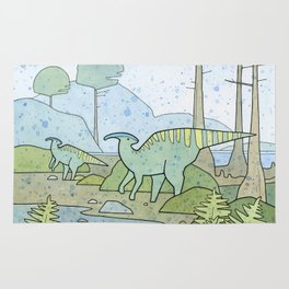 Duck-billed Dinosaur, Parasaurolophus Rug
