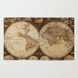 Vintage Map of the World Rug