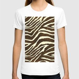 ZEBRA IN WINTER BROWN AND WHITE T-shirt