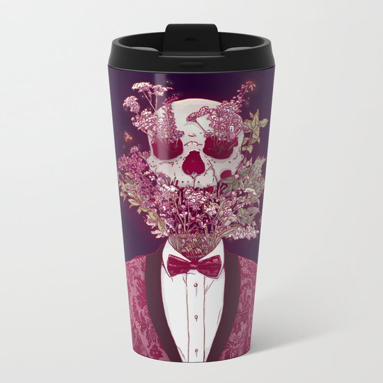 Skull Blossom Metal Travel Mug