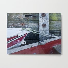 Detail of boats and seawall. Burnham Overy Staithe, North Norfolk Coast, UK in Winter Metal Print