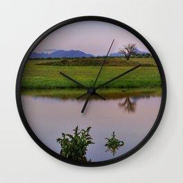 Serenity sunset at the lagoon. Spring dreams Wall Clock