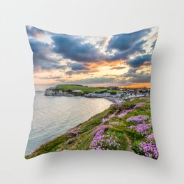 Freshwater Bay Sea Thrift Sunset (V) Throw Pillow