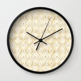 Stylish Gold Diamond Shapes Doodles White Pattern Wall Clock