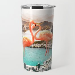 Collage, Flamingo, City, Creative, Nature, Modern, Trendy, Wall art Travel Mug