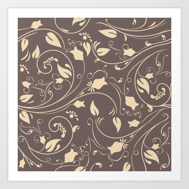 Vintage Black Gold Flower Art Print By Deanng Society6
