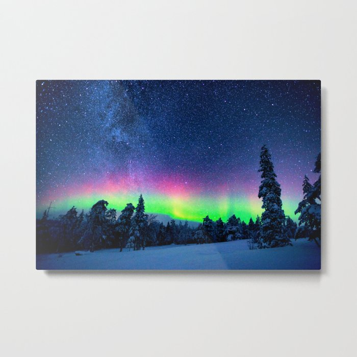 Aurora Borealis Over Wintry Mountains Metal Print