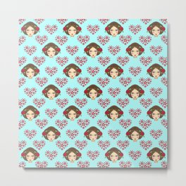 Beautiful faces of boho girl dolls pretty red floral hearts artistic romantic baby blue cute pattern Metal Print