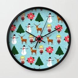 Mini Tiny Winter Girl Wall Clock