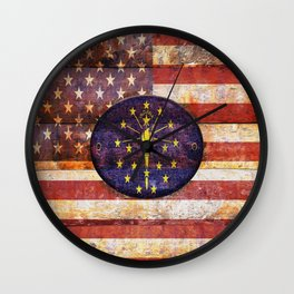 Illustration with a wooden flag of Indiana. Wall Clock