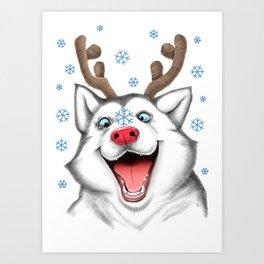 Husky Rudolph Art Print
