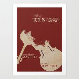Gerard Depardieu,Tous les Matins du Monde, French Movie Poster, Alain Corneua, Jean-Pierre Marielle Art Print