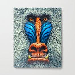 Mandrill Face Painting Metal Print