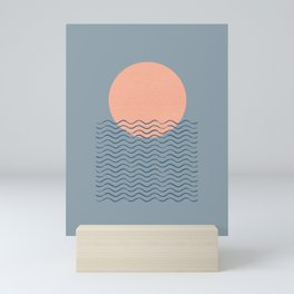 Ocean Wave Sun Blue - Mid Century Modern Mini Art Print