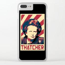 Margaret Thatcher Retro Propaganda Clear iPhone Case