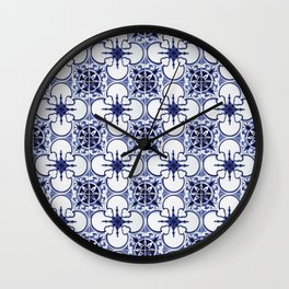 Portuguese Tiles Blue and White III Azulejos Wall Clock