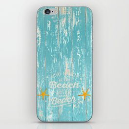 Happy Beach Life- Saying on aqua wood iPhone Skin