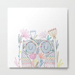 Flower Owl Metal Print