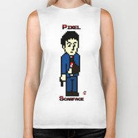 scarface Biker Tanks featuring Pixel Scarface by Rapsmyinitials