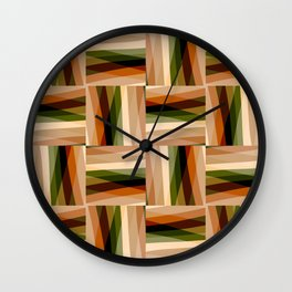 Feminine Geometric Pattern in Soft Hues of  Light Orange, and Cream Wall Clock