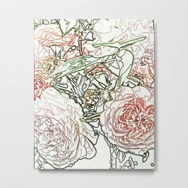 Pencil Sketched Roses Metal Print