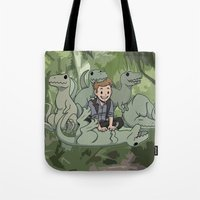 puppies Tote Bags featuring Jurrasic puppies by DeanDraws