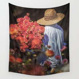 Picking the Flowers Wall Tapestry