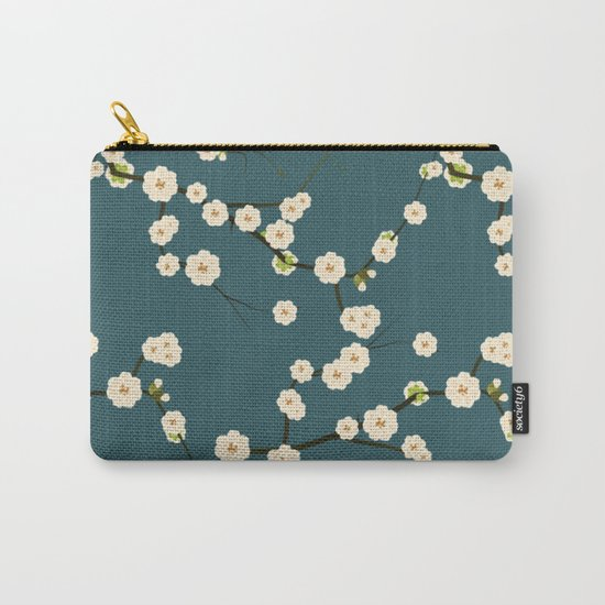 Cherry Blossoms on Blue Background Carry-All Pouch