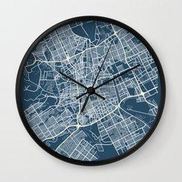 Riyadh Blueprint Street Map, Riyadh Colour Map Prints Wall Clock