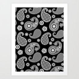 Paisley Pattern, Black and White Art Print