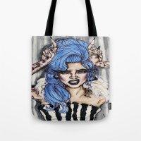 cara delevingne Tote Bags featuring Cara Delevingne by vooce & kat