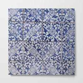 Portuguese Tiles - Azulejo Blue and White Floral Leaf Design Metal Print