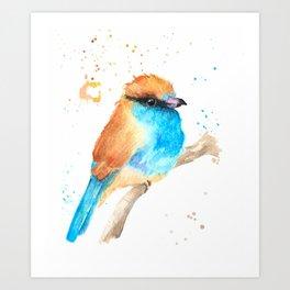 Blue and Gold Bird Art Print