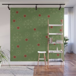 Snowflakes and stars - green and red Wall Mural